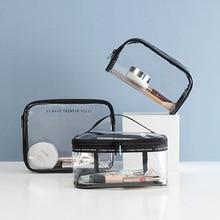 Women cosmetic bags transparent PVC makeup bag for travel wa