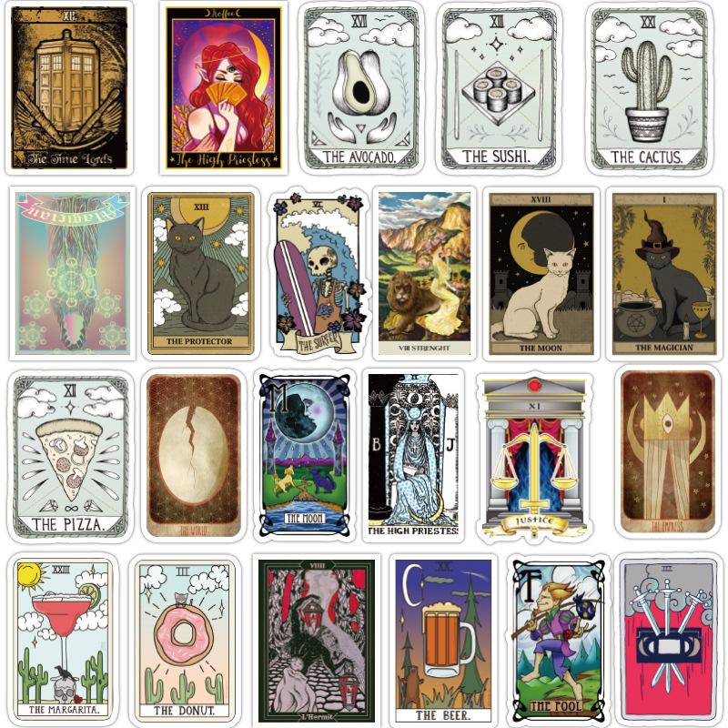 TD ZW 50Pcs TAROT Stickers Ancient Divination Graffiti Stickers For Laptop Luggage Notebook Refrigerator Skateboard Pegatinas