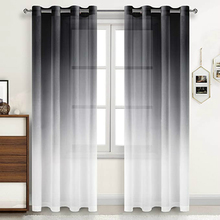 Black Gray Linen Sheer Curtains Gradient Semi Voile Drapes Grommet Top Window Curtains for Bedroom Living Room 52 X 84 Inches