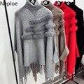 Neploe Lose Plus Größe Pull Femme Hiver Koreanische Lose Wilden Quaste Fledermaus Stricken Pullover Mode Patchwork Mantel Pullover Dicken 45813