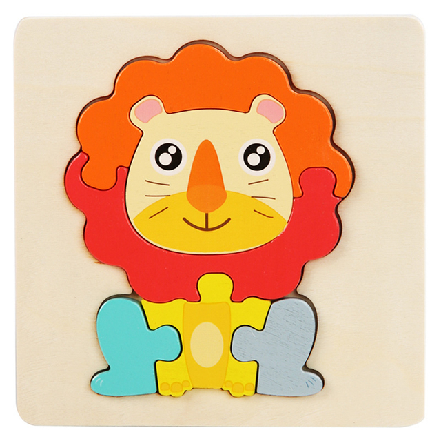 Kids Wooden Toys 3D Wood Puzzle Cartoon Animals Cognitive Jigsaw Puzzle Early Learning Educational Toys For Children Gift 6