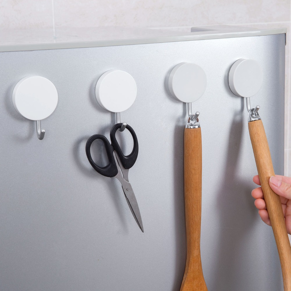 Household Magnetic Hook Power Magnet Hanger Holder Refrigerator Surfaces Not Scratch Fridge Hooks Key Holder Kitchen Organizer