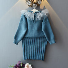 Toddler Kids Clothes Dresses Baby Girl Clothes Long Sleeve Knitted Tops Sweater+Lace Strap Dress Set Skirt Warm Outfit(China)