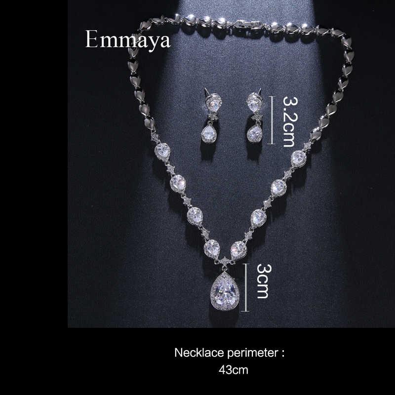 Emmaya Klassieke Waterdrop Uiterlijk Verzilverd Cz Prachtige Sieraden Sets Voor Vrouwelijke Oorbel En Ketting Nieuwe Trend Party