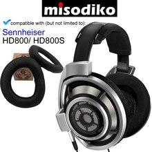 Misodiko [업그레이드 된 양모 가죽] 프리미엄 이어 패드 쿠션 파트 (플라스틱 클립 포함) sennheiser hd800/hd800s 헤드폰 용