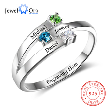 925 Sterling Silver Personalized Family Name Engraved Rings for Women Custom 3 Birthstones Mothers Ring Fine Jewelry (RI102505)