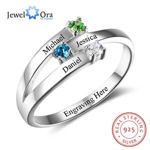 Image 1 - 925 Sterling Silver spersonalizowane nazwa rodziny grawerowane pierścienie dla kobiet klienta 3 Birthstones matki pierścień Fine Jewelry (RI102505)