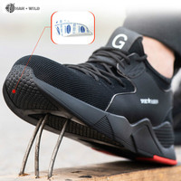 Male Steel Toe Work Safety Shoes Men Boots Breathable Outdoor Casual Sneaker Anti smashing Piercing Work Safety Boot Mens|Work & Safety Boots| |  -