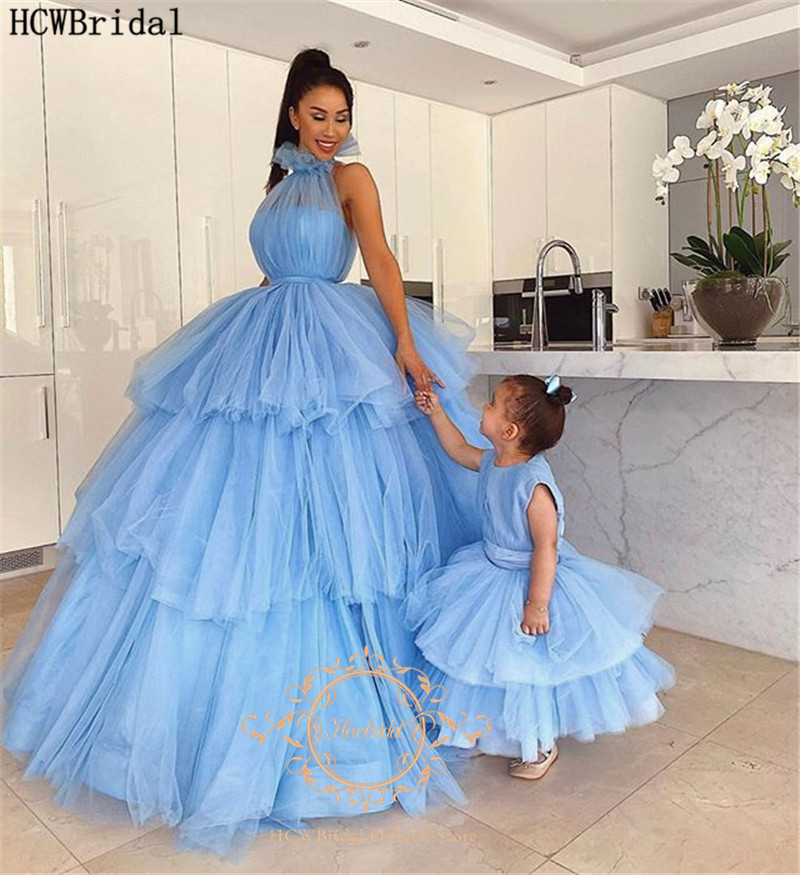 Mint Blue Tiered Tulle Ball Gown Evening Dress High Neck Plus Size Mother And Daughter Dresses Robe De Soiree Arabic Prom Gowns