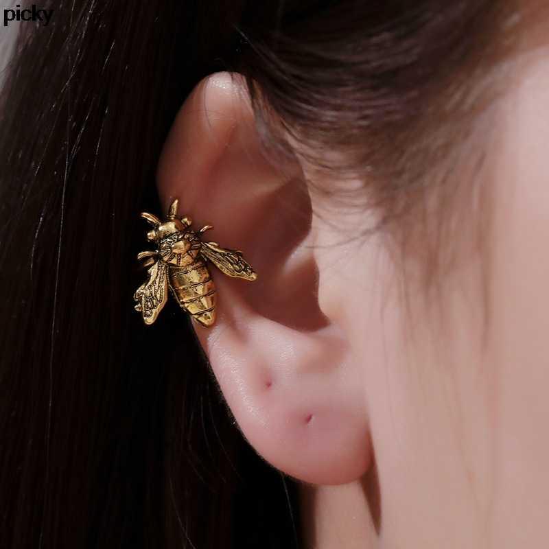 Vintage Bee Ear CuffsเงินสีปลอมเจาะหูโลหะEarclipไม่มีคลิปเจาะต่างหูแมลงEarcuffsเครื่องประดับ