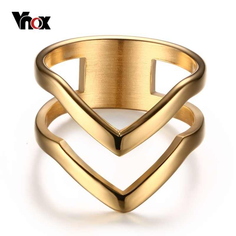 Vnox Chevron Ring V Shape Ring Gold-color for Women Girl Stainless Steel Wedding Bands