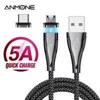 ANMONE-Cable magnético tipo C para teléfono móvil, Cable Micro USB magnético de aleación de Zinc 5A, carga rápida