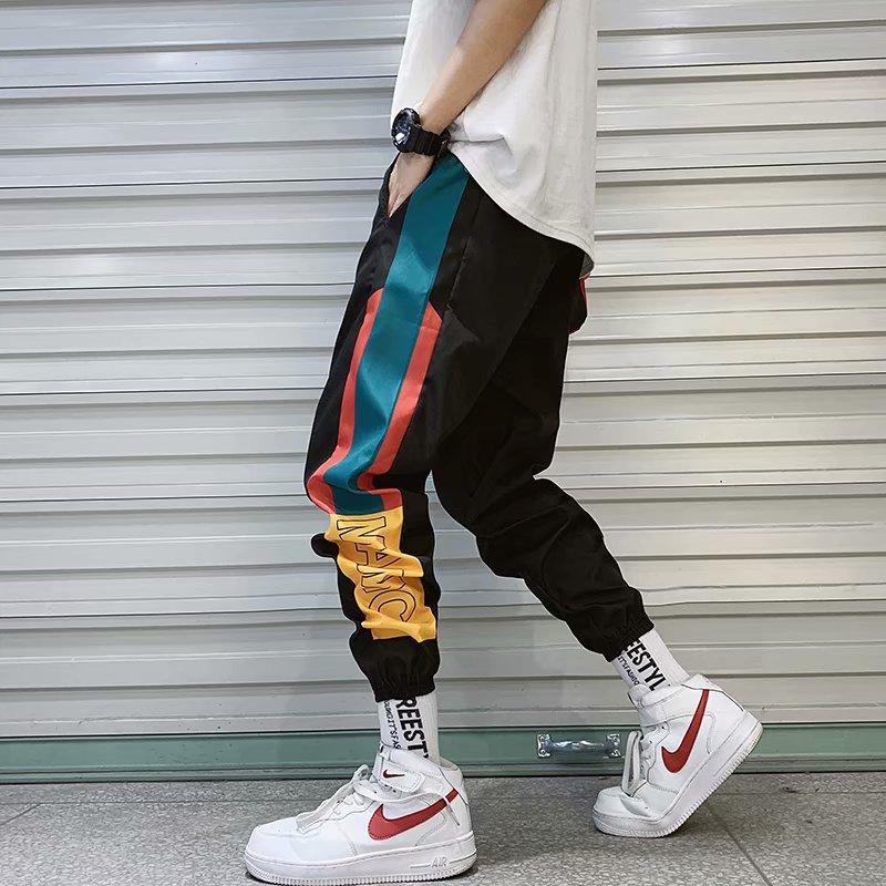 Hip Hop Streetwear Men's Splice Joggers Pants Fashion Printed Men Cuffed Cargo Pant Trousers High Street Harem Pant For Male