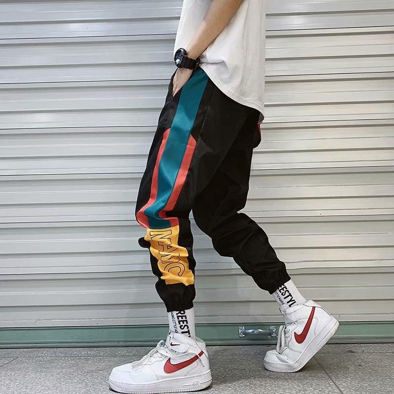 Streetwear dos Homens Calça de Carga Calças dos Homens de Moda Pant para Masculino Splice Calças Corredores Algemadas Impresso High Street Harem Hip Hop