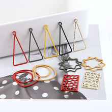 10pcs diy handmade jewelry alloy matte painting cold wind pierced earrings flowers geometric triangle ring material