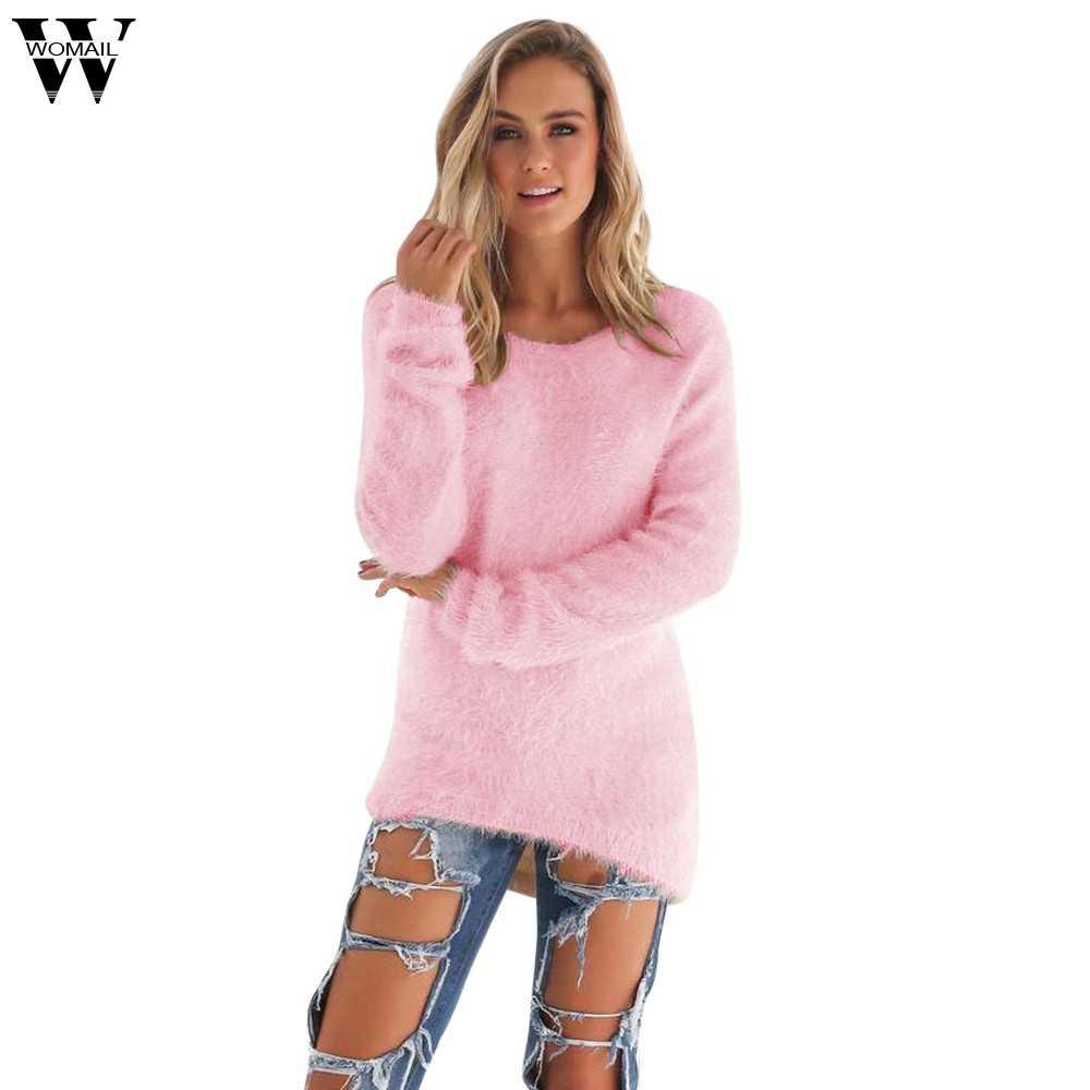 Womail Trui Vrouwelijke 2019 Herfst Winter Casual Solid Lange Mouwen Jumper sweters vrouwen lange S-XL