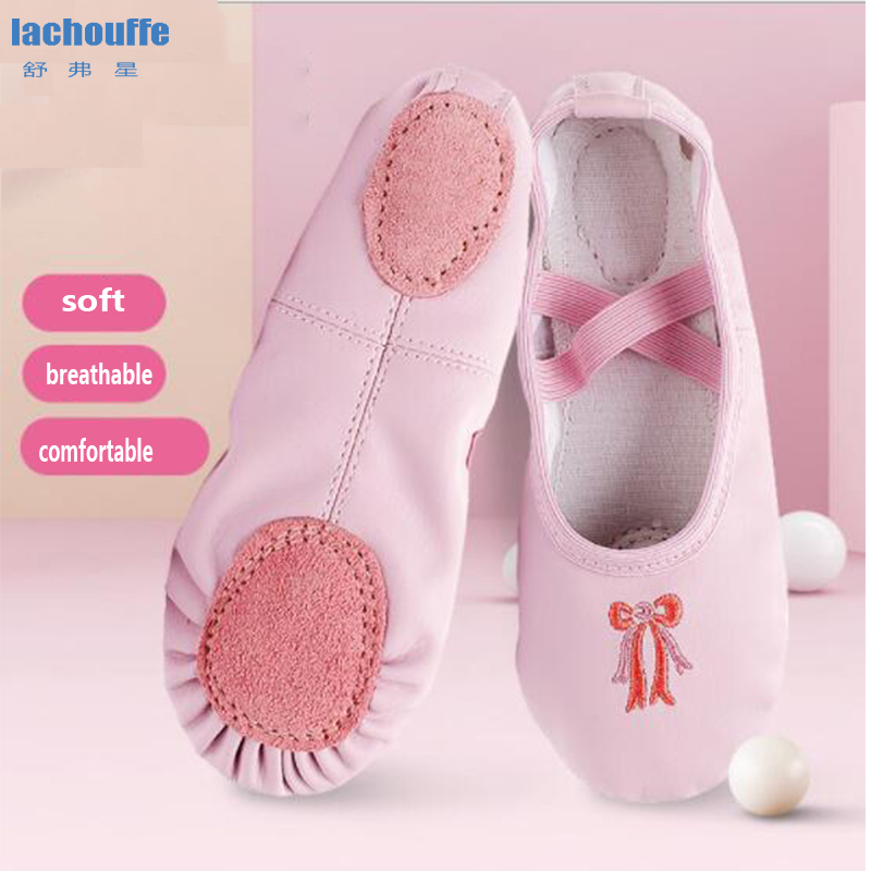 Kids Ballet Shoes For Dancing Children PU Teacher Yoga Dance Shoes Black Pink Women Flat Soft Sole Parctice Ballerina Shoes