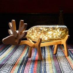 Gwieździste niebo lampa jelenia świąteczny prezent urodzinowy słodkie małe lampki nocne Nordic szklana lampa biurkowa LED głowy łóżka