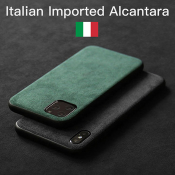 YMW ALCANTARA Case for iPhone 12 Pro Max 11 Xr X Xs Max 6s 7 8 Plus Luxury Artificial Leather Business Phone Cases SE2 Cover
