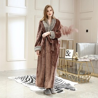 Women Thick Lace up Long Robe Sexy V neck Pocket Robes Flannel Couple Nightgown