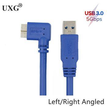 Кабель «Папа-папа», 5 Гбит/с, 90 градусов, правый, левый, угловой, Micro B к USB 3,0 Type A кабель «Папа-папа» 60 см 100 см шнур для камеры SLR/мобильного жестк...