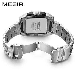Image 3 - MEGIR montre à Quartz de luxe pour hommes, en acier inoxydable, montre bracelet, grande marque, Business, chronographe