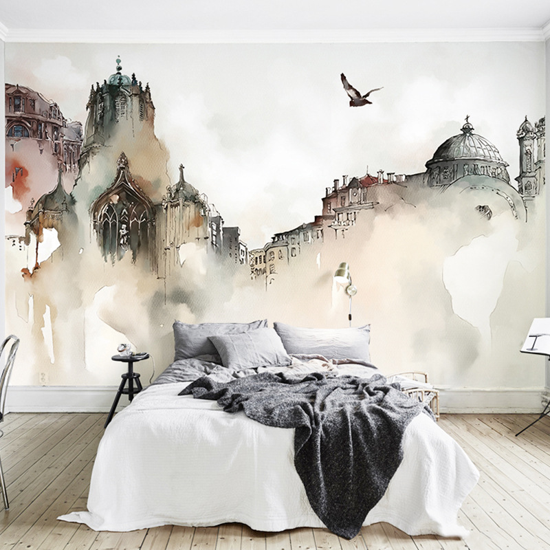 Northern European-Style City Architecture Wallpaper Hand-Painted Abstract Art Wall Wallpaper Cool Restaurant Living Room Mural W