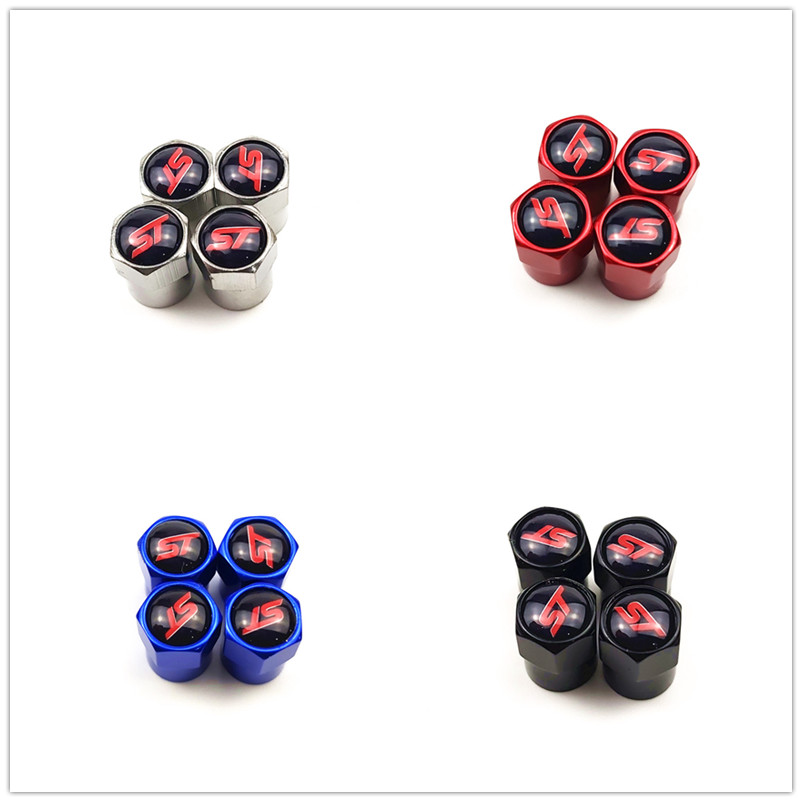 4Pcs Car Styling Wheel Tire Valve Stems Caps ST Sport Style For Ford Focus Fiesta Ecosport Kuga Mondeo Everest Car Accessories