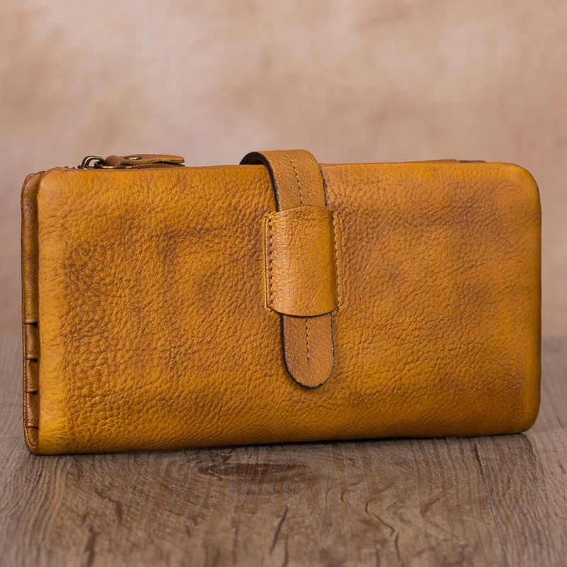 Carteira de couro genuíno para as mulheres dupla utilização zip bolsas longo bolsa do vintage artesanal embreagem titular do cartão organizador