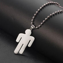 Stainless Steel Billie Eilish Pendant Necklace Round Strand Chain Necklace Fans Gifts Collares Mujer gargantilha Collier femme(China)