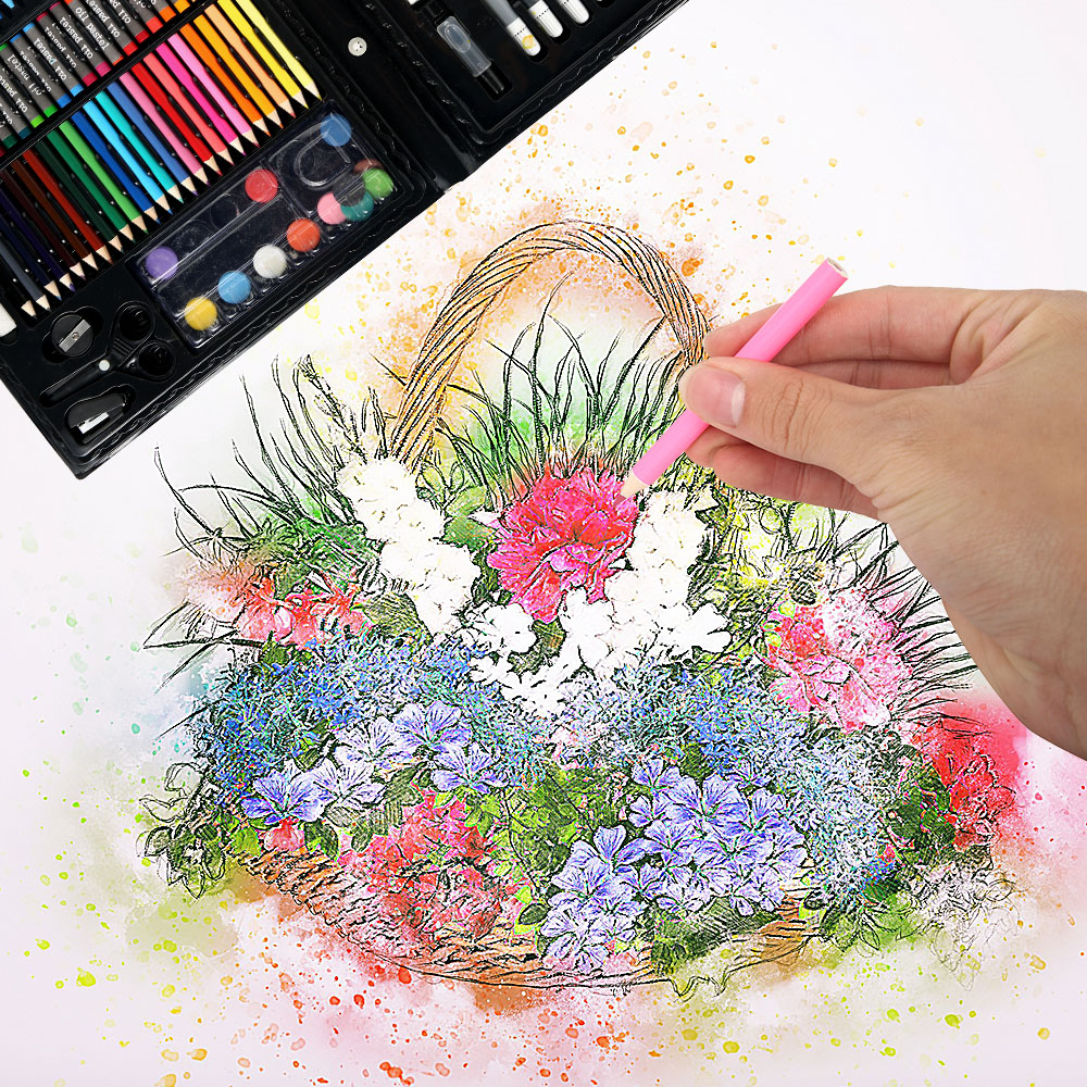 Image 3 - 168 pcs Kids Art Set Children Drawing Set Water Color Pen Crayon Oil Pastel Painting Drawing Tool Art Supplies Stationery setArt Sets   -