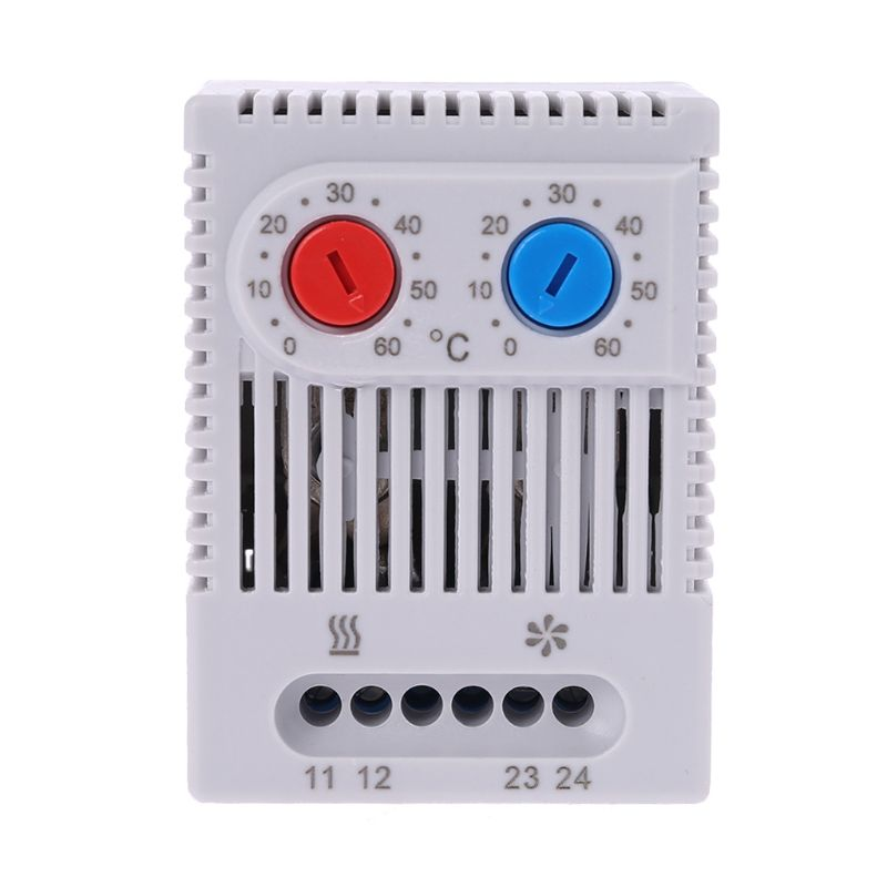Small Compact Adjustable Temperature Controller ZR011 Dual Thermostat Connecting Heater Fan For Cabinet ZR 011