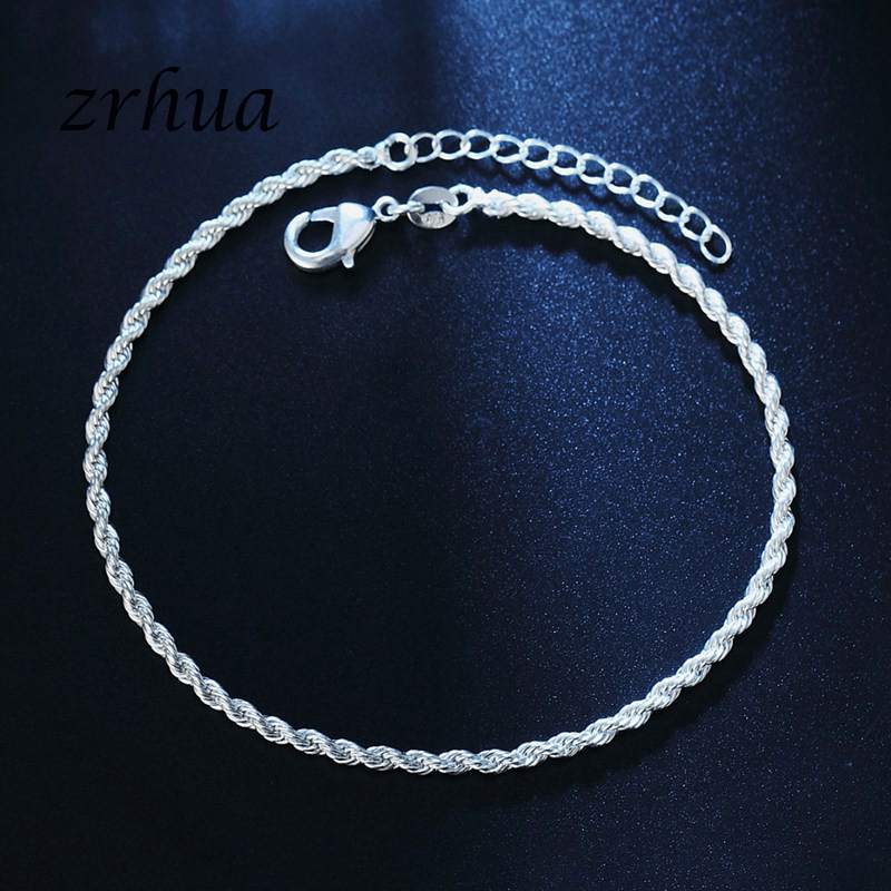 Romantic Twisted chain 925 Sterling Silver Bracelets & Bangles Adjustable Women Charm Anklets Jewelry Gifts Gold Color Bijoux 5