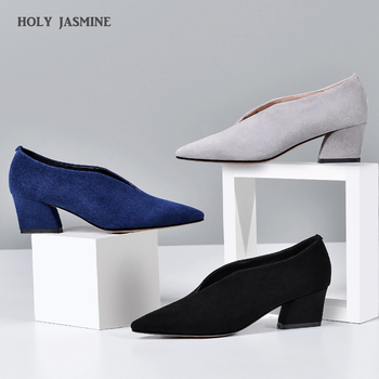 Genuine Leather Pumps Women Pointed Toe Footwear Shallow Office Shoes Female Fashion Chunky Heels 5 Inch Woman Spring 2020 New women pumps block heels 5cm pointed toe classic ladies chunky heels fashion female office shoes women