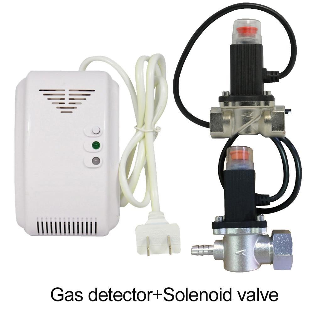 220vac cozinha ch4 gás natural detector de vazamento válvula solenóide magnética para cortar o sensor de alarme de incêndio de gás de carvão para segurança em casa
