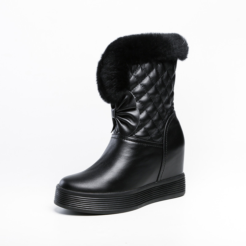 Smirnova 2020 date hiver bottes de neige femmes en cuir véritable chaussures zip chaud épais fourrure élégant cales plate forme bottines femme - 3