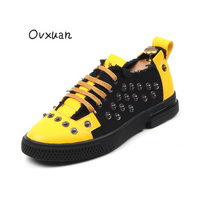 Creepers Studded Men loafers Yellow Black Patchwork Low Plate Rivet Punk men shoes Casual Flats Sneakers wholesale Dropshipping