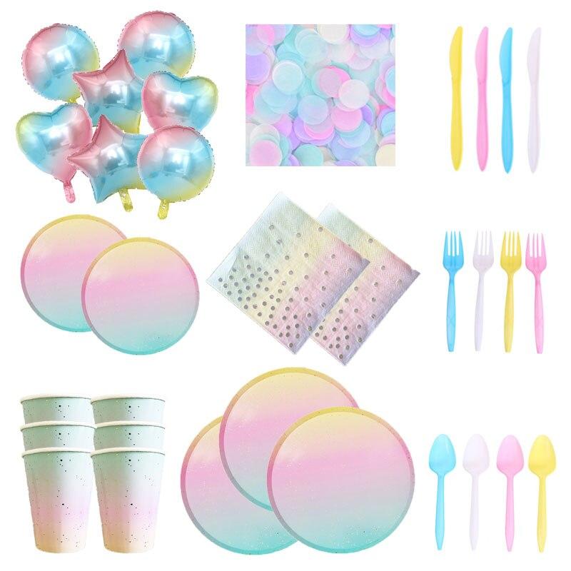 Gradient Rainbow Wedding Tableware Unicorn Plate Disposable Party Paper Tableware Unicorn Birthday Party Tableware Balloons
