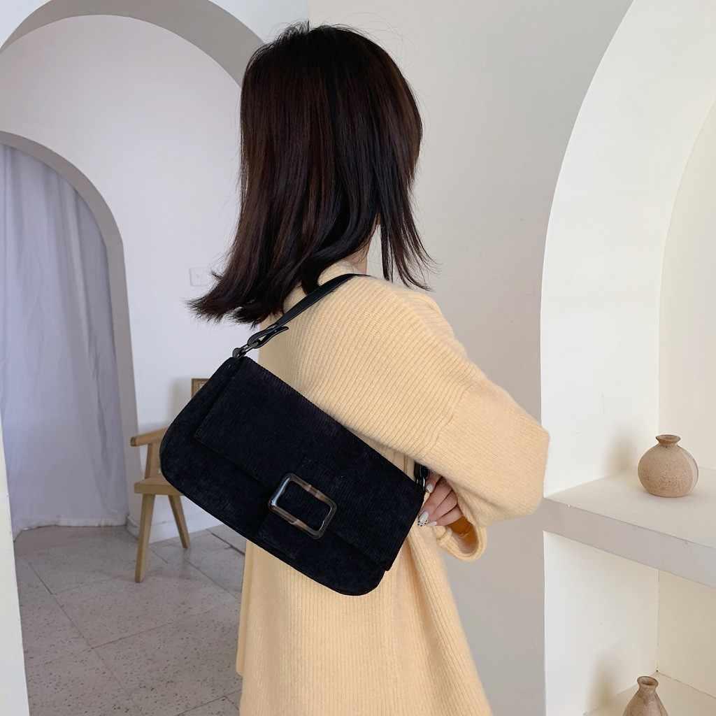 Wanita Korduroi Tas Lanjutan Paket Tas Selempang untuk Wanita Musim Dingin Fashion Pegangan Tas Kasual Tas Kurir