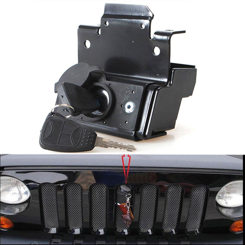 Комплект замков для капота безопасности, противоугонная сборка двигателя подходит для Jeep Wrangler JK 2007-2010 2011 2012 2013 2014 2015 2016 2017 2018