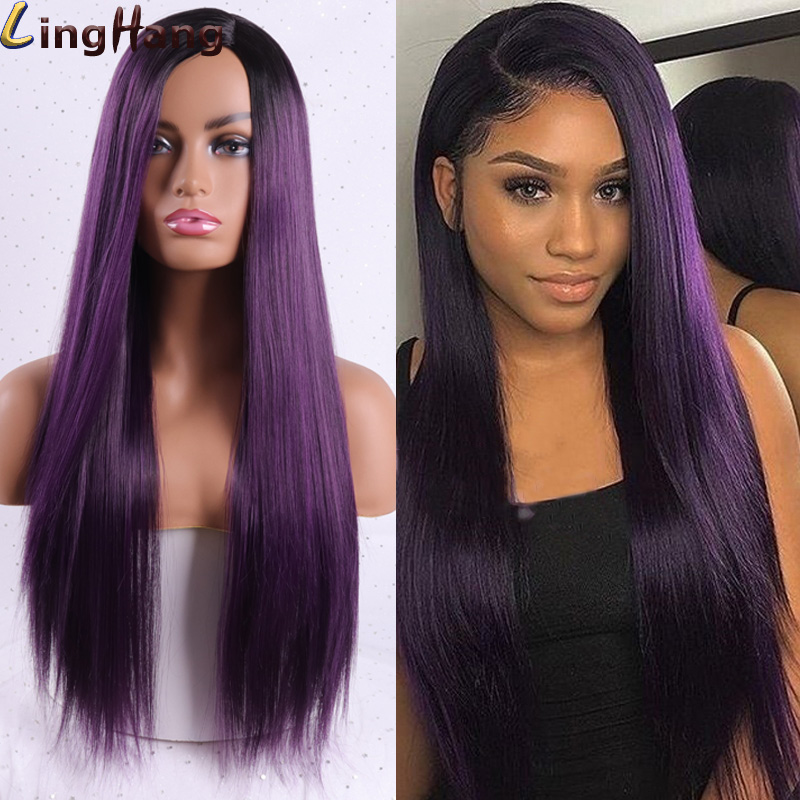 Linghang Long Straight Synthetic Wig For Women Middle Part Wigs Purple Black Heat Resistant Fiber Cosplay Costume Wig 11 Color