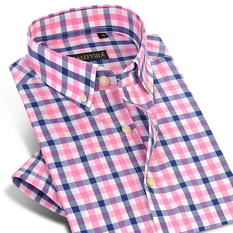 England Style Plaid Checked Cotton Men Shirts Pocket-less Design Short Sleeve Summer Casual Standard-fit Button-down Thin Shirt