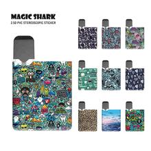 Magic Shark 2.5D Ultra Thin Skull Graffiti Leopard PVC Sticker Skin Film Case Vape Pod Kit Cover for OVNS JC01 new smok slm stick thick vapor pod vape kit 250mah electronic cigarette kit small vape pen kit vs smok nord drag nano minifit