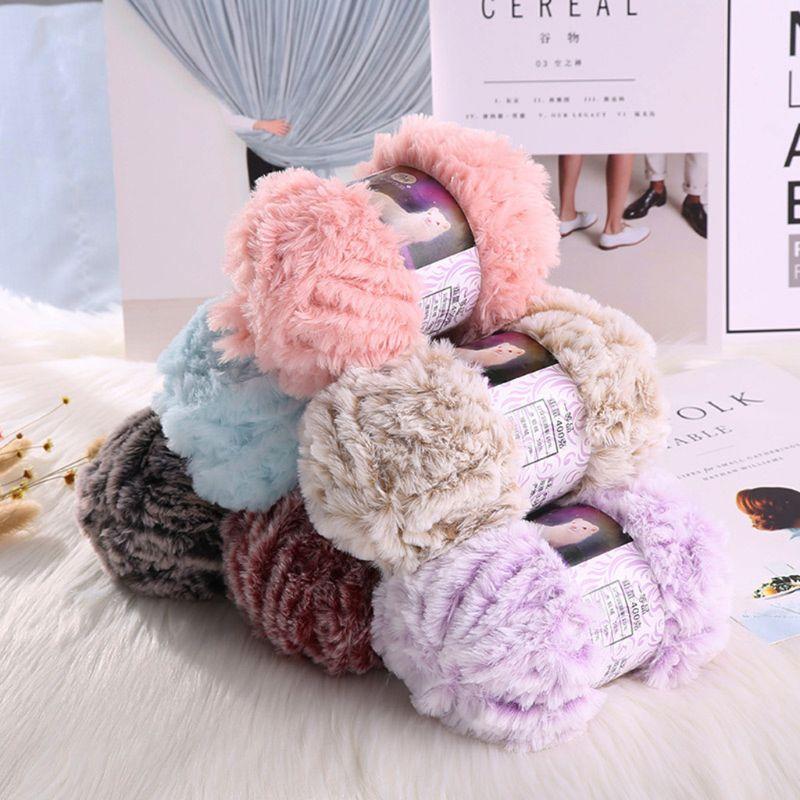 50g/Ball DIY Fluffy Plush Chunky Thick Knitting Yarn Multicolor Hand-Woven Crochet Velvet Thread For Baby Warm Hat Scarf