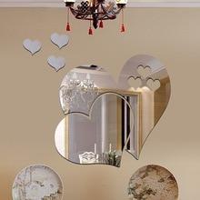 Adhesivo para pared de corazón con espejo 3D de 5 uds. DIY decoración de hogar para habitaciones diseño de amor extraíble pegatinas para mesa de baño