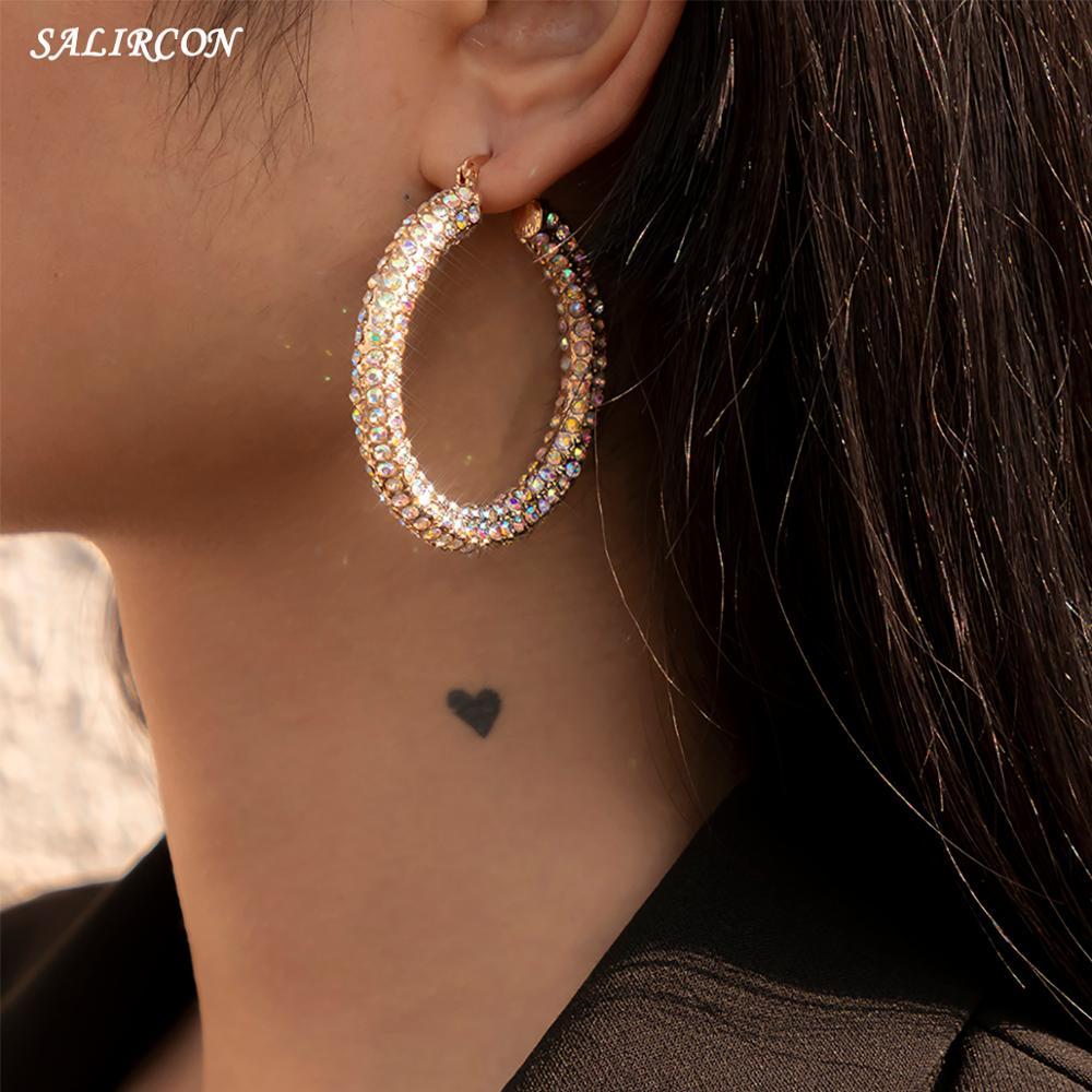 Salircon Kpop Round Big Circle Crystal Hoop Earrings for Women Boho Earrings Charm Rhinestone Piercing Hanging Earrings Jewelry