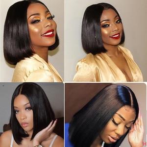 Image 4 - Парик из человеческих волос Arabella, прямые волосы Remy 2x6, парик на застежке Ким К, парик для женщин, короткий парик с кружевом