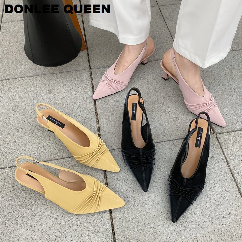 Spring Back Strap Sandals Women Thin High Heels Shoes Slip On Mule Pleated Pointed Toe Shoe Sexy Slingback Pumps Sandalias Mujer