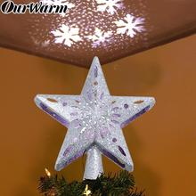 OurWarm 3D Glitter Star Christmas Tree Topper with Built-in Rotating LED Snowflake Projector Ornament Home Decor