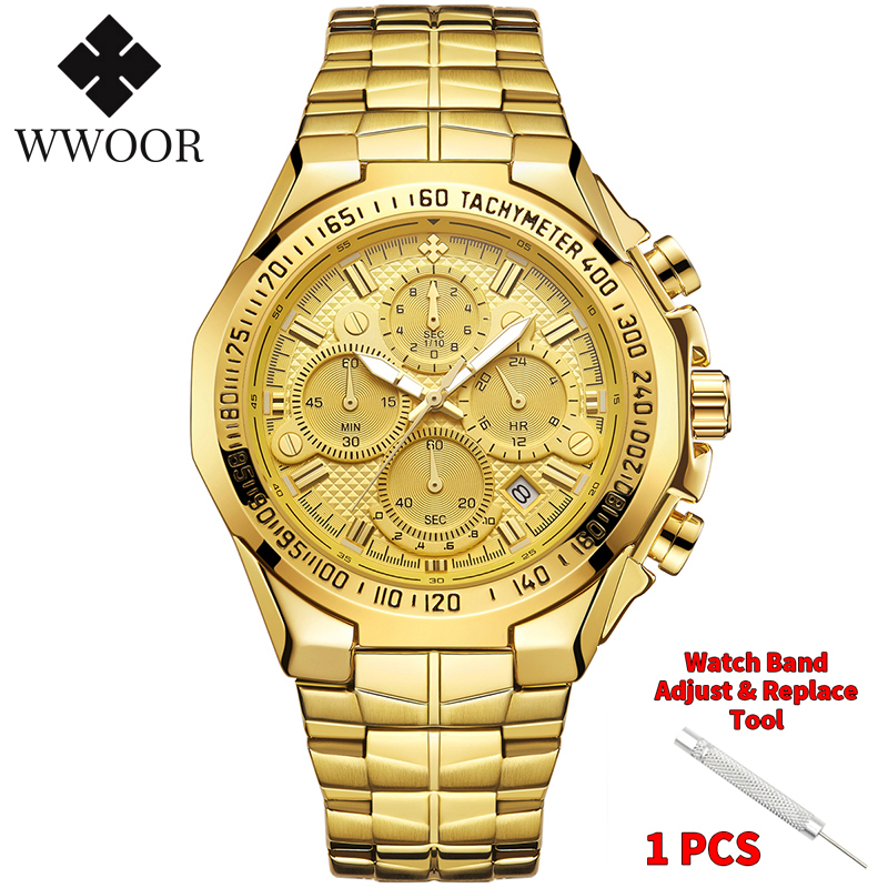 WWOOR 2020 New Men Watches Top Brand Luxury Gold Stainless Steel Quartz Watch Men Waterproof Sport Chronograph Relogio Masculino 8